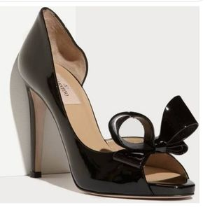 Valentino Bow D'orsay Black Pumps size 37
